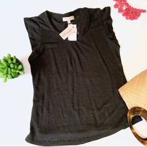 Philosophy Black Linen T-Shirt Flutter Sleeve Top